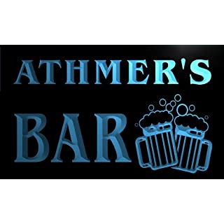 w131401-b ATHMER Name Home Bar Pub Beer Mugs Cheers Neon Light Sign