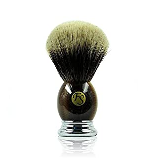 Frank Shaving Finest Badger with 2-Band Shaving Head, Knot 23 mm Horn Handle in Chromed Metal and Decorative APN: 821-1469 and Finally Made in Germany