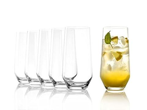 Stölzle Lausitz Wassergläser/Longdrinkgläser Revolution 390ml, 6er Set Gläser, spülmaschinenfest, hochwertige Qualität, bleifreies Kristallglas, ohne (Grün Wodka)