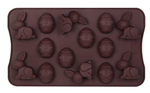 """Dr. Oetker Silikon-Schokoladenform """"Fröhliche Ostern"""" 14er Silikon Schokoladeneier, Schokoladenform Osterhase, Schokohasen für Kuchen, Menge: 1 Stück"""