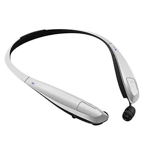 Bluetooth Headphones/Headset Rymemo Auto Wire Retraction Metallic-feeling Surface Stereo Music Sports/Running Wireless Vibration Neckband Style Earphones for Cellphone,Silver