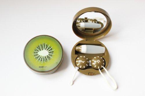 Kontaktlinsenbehälter Aufbewahrungsbehälter Etui Set Spiegel Früchte Obste NEU (Kiwi)