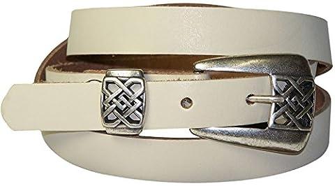 FRONHOFER Fine ceinture pour femme 2 cm boucle à arabesques couleur argent vieilli, ceinture en cuir véritable, grande taille de ceinture, 18170, Taille:Taille 90 cm, Couleur:Crème