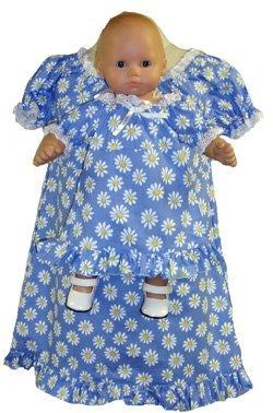 Doll Clothes Superstore Passende Mädchen und Puppe blaues Gänseblümchen Kleid Größe 4 (Empire Nightgown)