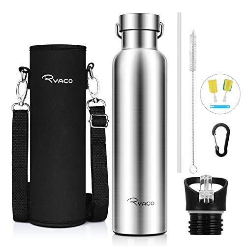 Ryaco Trinkflasche Edelstahl Wasserflasche 560ml 750ml 1000ml, Vakuum-Isolierte BPA-frei auslaufsicher Thermosflasche, 24 Std Kühlen & 12 Std Warmhalten, Inklusive 2 austauschbare Kappen (Silber)