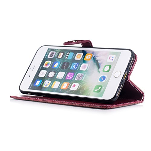 Trumpshop Smartphone Case Coque Housse Etui de Protection pour Apple iPhone 7 Plus (5.5-Pouce) [Marron Profond] Motif Peau de Crocodile PU Cuir Fonction Support Anti-Chocs Vin Rouge