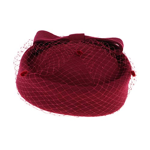 Baoblaze Vintage Fascinator Hut Pillbox Hut Britischer Bowler Hut Winter Wollmütze für Damen - ()
