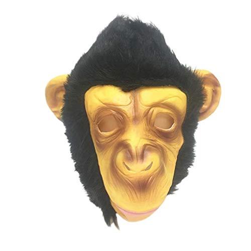 Amosfun Affenmaske, Tierkopf-Maske, Silikon, Schimpanskopf-Abdeckung für Halloween, Party, Cosplay, Dekoration