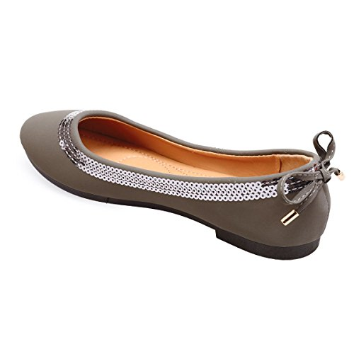 La Modeuse Ballerines Simili Cuir Toucher Velours Gris