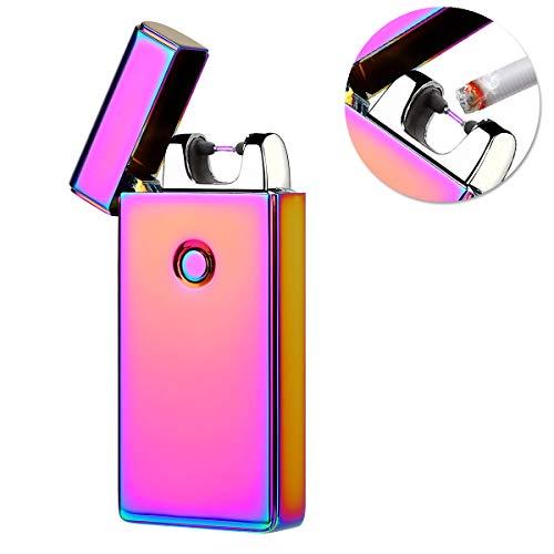 Kivors® USB Elektronische Feuerzeug, Wiederaufladbar Tragbar Pulse Doppelt Arc Zigarettenanzünder Winddicht Flammenlose Arc Feuerzeug Mini Pocket kein Gas