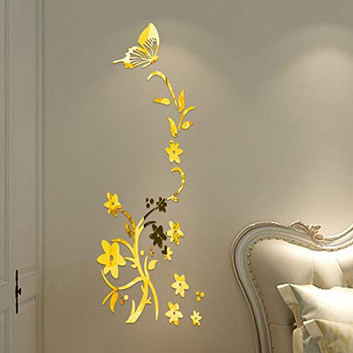 Vovotrade Miroir Stickers DIY Miroir Wallpaper Multicolor Butterfly Flower Miroir Wall Stickers Flower Butterfly Lively Wall Sticker for Room Decoration Our Enfants Bebe Garcon Fille Chambre (Gold)