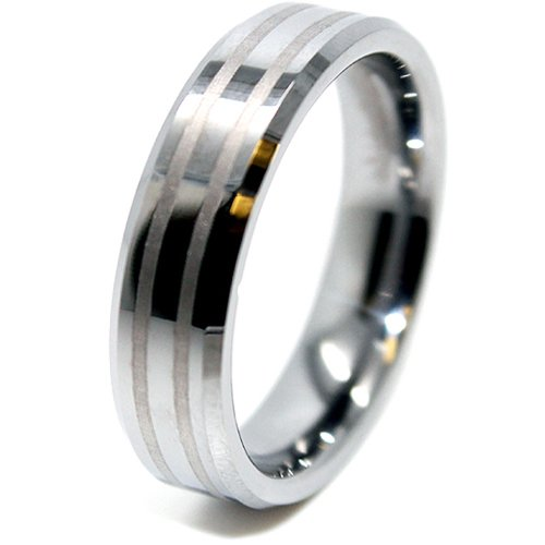 6mm Two Satin Lines Tungsten Ring Wedding Band Size T _