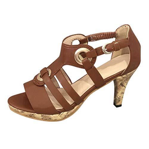 Mitlfuny Damen Sommer Sandalen Bohemian Flach Sandaletten Sommer Strand Schuhe,Damen Elegante Schnalle Knöchel Peep Toe High Heel Sandalen römische Schuhe