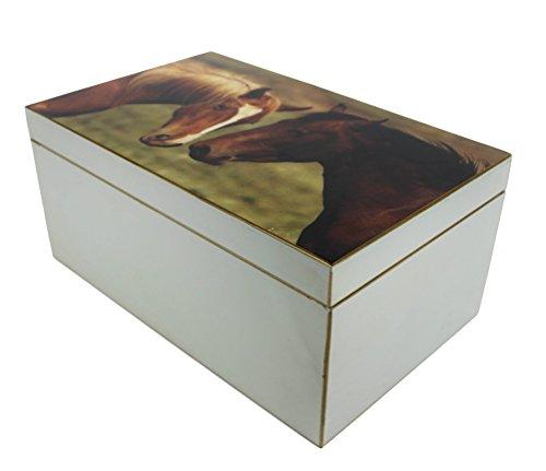 SIGNATURE HOME COLLECTION FC-118-047 Boîte Motif Cheval Gris 34 x 21 x 15 cm