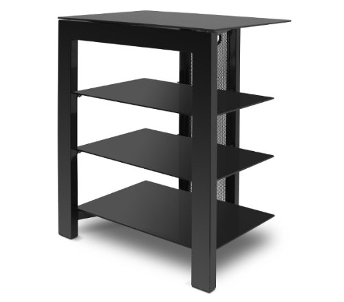 de-conti-arca-4-shelf-hi-fi-stand-in-black-steel-with-black-glass-400mm-shelf-depth-and-cable-manage