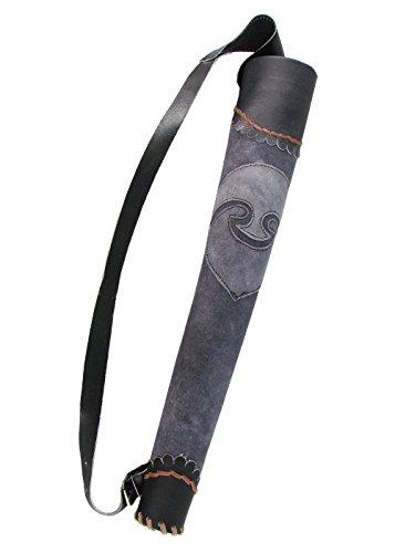 aus Leder für 8 LARP-Pfeile Grau Bogenschütze Mittelalter (Halloween-vampire Hunter Kostüm)