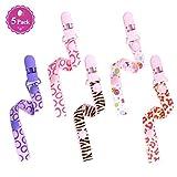 Philonext 5 Pcs Chupete Bebé Clips Universal Chupete Cadena de Clip Infantil de la Gota Resistente dientes del Sostenedor del Anillo para Niñas y Niños (Girls)
