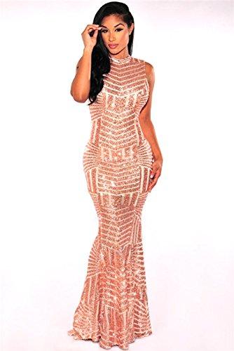Kleid Disco Gold (Ballkleid, Abendkleid lang, Gr. 36/38,M/L, Pailletten, Glitzer, gold/beige, Zip, kleine Schleppe, Silvester, Weihnachten, Club wear,)
