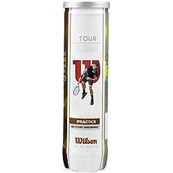 Wilson Tour Practice Pelotas de tenis, tubo con 4 pelotas, amarillo