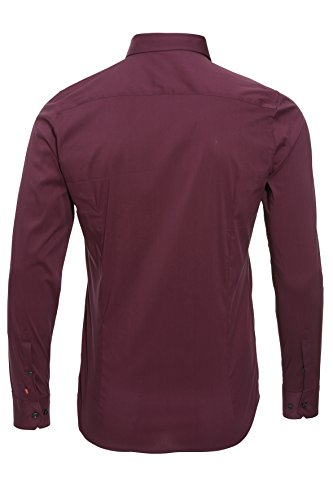 Pure camicia City Red a maniche lunghe uni bordeaux