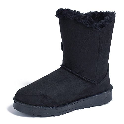 AgeeMi Shoes Damen Schuhe Twin Knopf Fell Schnee Stiefel Winter Schneestiefel,EuX12 Schwarz 39 (Für Mit Frauen Stiefel Fell Schnee)