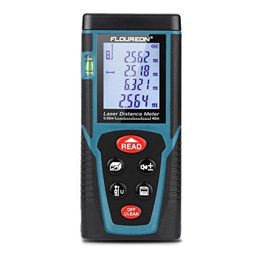 Bosch Laser-maßband (Floureon Laser-Entfernungsmesser Distanzmessgerät Messbreich bis 60m/±2mm Distanz Messgerät mit LCD Hintergrundbeleuchtung, Staub- und Spritzwasserschutz IP54)