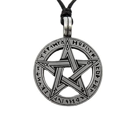 Runic Pentagram Pentacle Pagan Wiccan Gothic Pewter Pendant Necklace