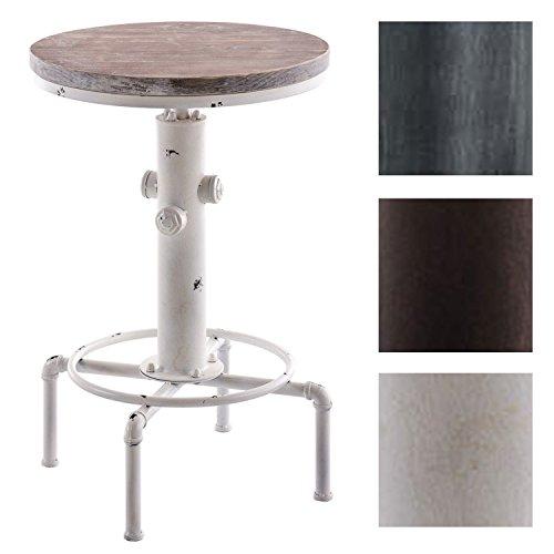 CLP Table Haute de Bar Lumos - Table Ronde Style Mange-debout avec un Design Industriel Diamètre Ø 50 cm - Table de Bistro avec Plateau en Bois et Support en Métal - Hauteur Réglable 80 - 100 cm blanc antique