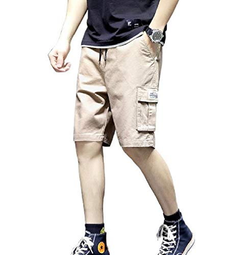 VITryst Herren atmungsaktive gerade Passform elastische Taille Vogue Kurze Hose Gr. 4XL, Khaki Old Navy Capri-jeans