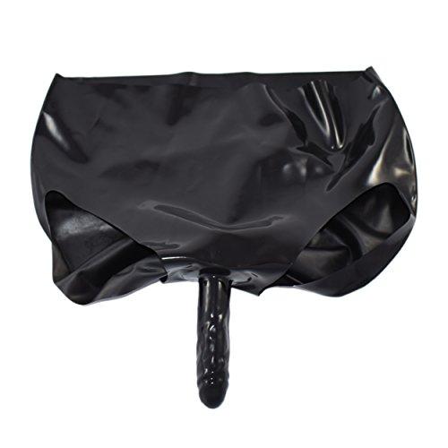 Rubberfashion Latex Slip, Latexslip Kurze Hotpanty mit Außendildo, Anal Dildo und veredelter Oberfläche Nicht chloriert für Frauen und Herren 1 Stück schwarz L