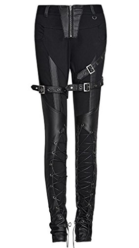 Pantaloni: lacci a sul davanti e cinghie steampunk Punk Rave nero Large