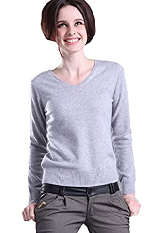 Minetom Femme Pull en Cachemire Sweater Sexy Col V Manches Longues Casual Tops Blouse ( Gris FR 40 )