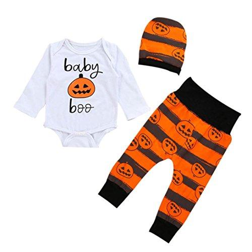 Kürbis Kostüm Muster Kopf (Hirolan Baby Kürbis Spielanzug Top + Hosen + Hut Halloween Kleider Set (80cm,)