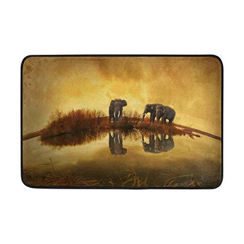 jstel Azteken Elefant Sonnenuntergang-Fußmatte waschbar Garten Büro Fußmatte, Küche ESS-Living Badezimmer Pet Eintrag Teppiche mit Rutschfeste Unterseite 59,9x 39,9cm