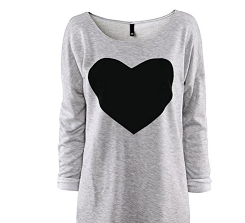 Love Rcool T-Shirt Damen Herz Shirt Weiblicher Schnitt Verschiedene Farben Hochwertiger Druck. Damentop mit Love Motiv (Grau, L/44) (Slim Pant Gestreifte Wolle)
