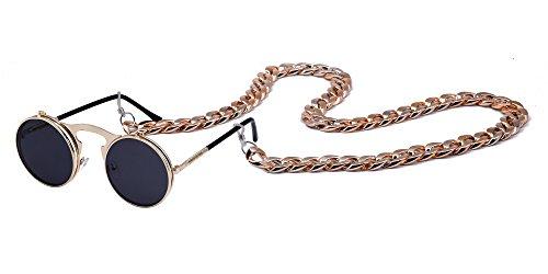 XFentech Retro Metall Steampunk Style Circle Unisex Damen Herren Sonnenbrille Flip Up Runde Linse mit Kette, Style A 1