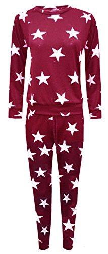 Hina Fashion Frauen Langarm-Stern-Druck-2 Stück Sweatshirt Hose Anzug Jogging Lounge (Small/Medium (36-38), Wein) (Hosen-anzug Stück Zwei)