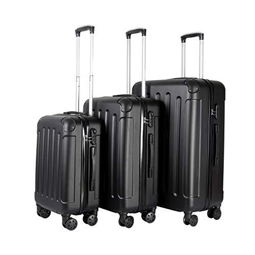 3er Kofferset Trolley | Koffer Set Hartschalenkoffer | Reisekoffer Gepäck | Hartschalen Rollkoffer Schwarz