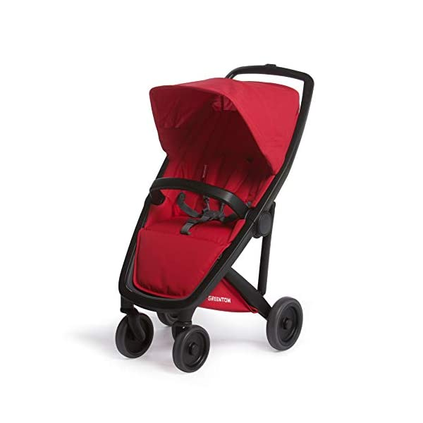 Greentom Classic UPP Lightweight Stroller, Adapters and Rain Cover For 6 Months upto 4.5 Years, Red Greentom High quality lightweight stroller by the brand Greentom Made of high quality (recycled) materials the first green stroller on planet earth Includes, chasisis, seat fabric, canopy, basket, raincover and car seat adapter 1