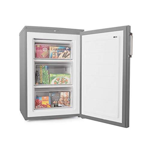 Klarstein Garfield XL Eco+ - Congélateur, 80 litres, 3 tiroirs, réglable en hauteur, 41 dB, économique, idéal pour couples et petites familles, argent
