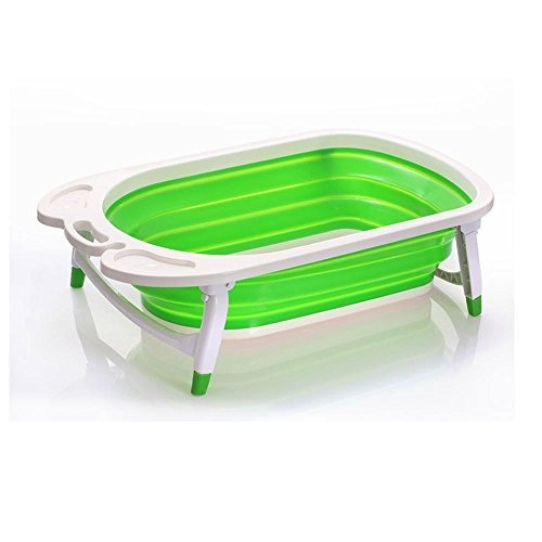 Foldable Baby Bath Tub - Lighweight and Sturdy Ideal for Easy Storage by Babyhugs (Lime Green)