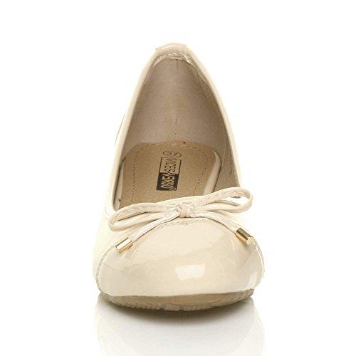 Damen Klein Mitte Keilabsatz Arbeit Schleife Ballerina Schuhe Pumps Größe Beige
