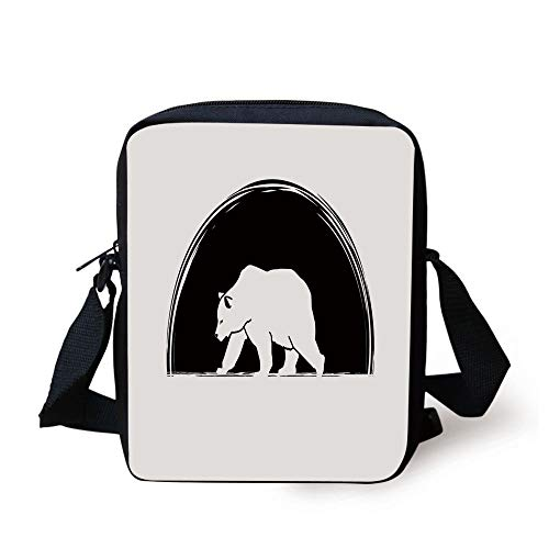 Animal,Big Polar Bear Walking Side View Furry Creature Arctic Mammal Illustration,Black and White Print Kids Crossbody Messenger Bag Purse -