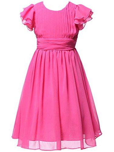 HAPPY ROSE Juniorbrautjungfernkleid Chiffon Abschlussball-Partykleid Langes Kleid für Mädchen Fuchsien 12_Jahre (Für Kleider Fuchsie Mädchen)