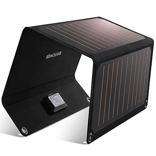 Solar Ladegerät, RAVPower 21W Solarladegerät Outdoor, 2 Port USB Solarpanel Handy Ladegerät, Leicht, Faltbar, Wasserdicht, Kompatibel mit Allen Handys, iPad, Kamera, Tablet usw. (Solar-panel-ladegerät Handy)