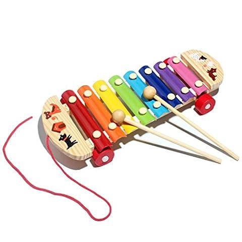 Kleinkindspielzeug Longra Kinder Baby Spielzeug Xylophon Weisheit Entwicklung hölzerne Musikinstrument verbessern Kind empfindlich auf Farben Klänge,