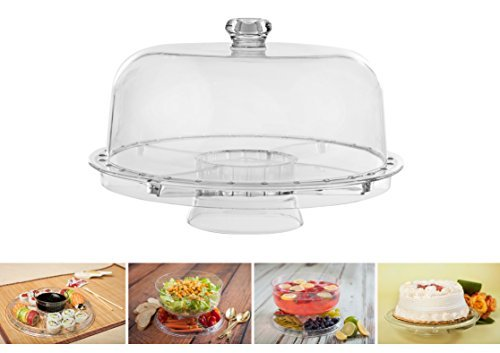 ADORN Multifunction Cake stand with Dome, Salad Server with Sectional Platter or Punch Bowl (6 Uses) by Adorn Home Essentials - Sectional-server