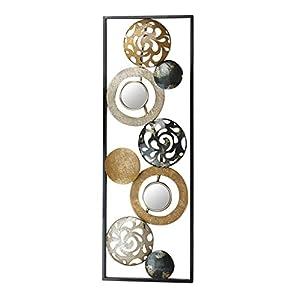 Kobolo Metall-Wandbild Wanddekoration Metallbid – mit Ringen, Kreisen und Spiegeln – 90×31 cm