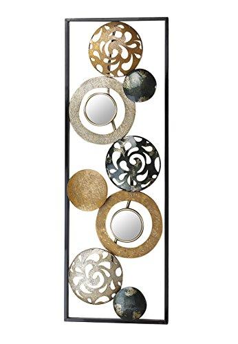 Kobolo Metall-Wandbild Wanddekoration Metallbid - mit Ringen, Kreisen und Spiegeln - 90x31 cm