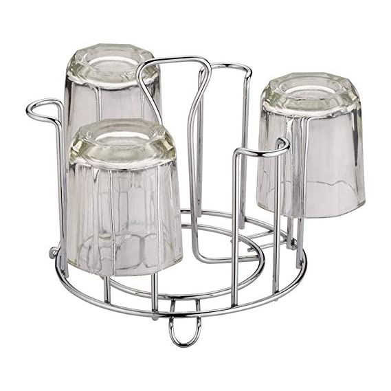 AONTAN Made Stainless Steel and Virgin Glass Holder for 6 Glasses and Glass Stand Steel for Kitchen/Dining Table